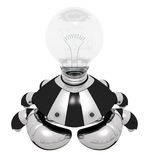 Idea Generator Robot with Light Bulb Royalty Free Stock Image
