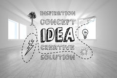 Idea graphic in bright room Stock Images