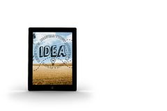 Idea graphic on tablet screen Royalty Free Stock Photography