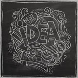 Idea hand lettering On Chalkboard Stock Image