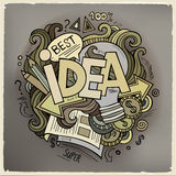 Idea hand lettering and doodles cartoon elements Royalty Free Stock Photos
