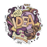 Idea hand lettering and doodles cartoon elements Stock Photography