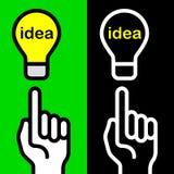 Idea hand symbols. On green and black Royalty Free Stock Photos