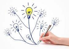 Idea. Hand writing idea lightbulb on white stock images