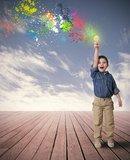 Idea of a happy child. Happy child with a new idea Stock Images