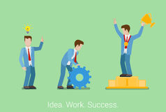 Idea hard work success win business isometric flat 3d vector Royalty Free Stock Photos