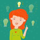 Idea in a head. Cute girl on green background with idea symbol Stock Photos