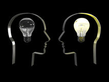 Idea in a head on black background. 3D image. Idea in a head with lightbult on black background. 3D image Stock Images