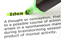 Idea highlighted in green Stock Image