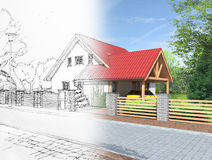 Idea of house construction. Conceptual illustration of an architects dream Royalty Free Stock Photography