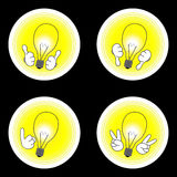 Idea icon set. Good idea, bad idea, point up, victory. Lamps with hands isolated on black Stock Images