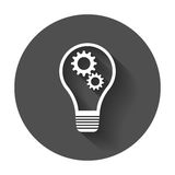 Idea icon vector flat. Light bulb icon vector with long shadow Royalty Free Stock Images