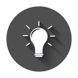 Idea icon vector flat. Light bulb icon vector with long shadow Stock Image