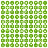 100 idea icons hexagon green. 100 idea icons set in green hexagon isolated vector illustration Royalty Free Stock Images