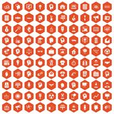 100 idea icons hexagon orange Stock Images