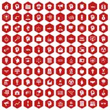 100 idea icons hexagon red. 100 idea icons set in red hexagon isolated vector illustration Royalty Free Illustration