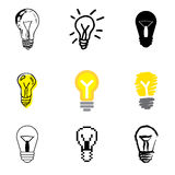 Idea icons set. Idea lamp icons vector set vector illustration