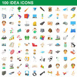 100 idea icons set, cartoon style Stock Images