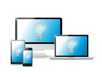 Idea icons on a set of electronics Stock Images
