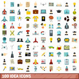 100 idea icons set, flat style Stock Photo
