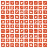 100 idea icons set grunge orange. 100 idea icons set in grunge style orange color isolated on white background vector illustration vector illustration