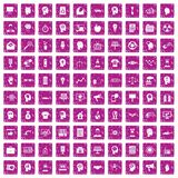 100 idea icons set grunge pink. 100 idea icons set in grunge style pink color isolated on white background vector illustration royalty free illustration