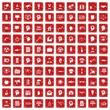 100 idea icons set grunge red. 100 idea icons set in grunge style red color isolated on white background vector illustration Royalty Free Illustration