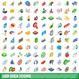 100 idea icons set, isometric 3d style. 100 idea icons set in isometric 3d style for any design illustration vector illustration