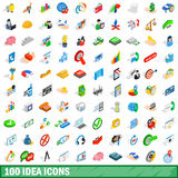 100 idea icons set, isometric 3d style. 100 idea icons set in isometric 3d style for any design vector illustration Stock Photography