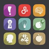 Idea Icons Set. New style icons long shadow Royalty Free Stock Photos