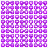 100 idea icons set purple. 100 idea icons set in purple circle isolated on white vector illustration Stock Images