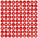 100 idea icons set red. 100 idea icons set in red circle isolated on white vector illustration Vector Illustration