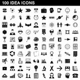 100 idea icons set, simple style Stock Photo
