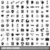 100 idea icons set, simple style. 100 idea icons set in simple style for any design vector illustration Stock Photography