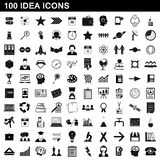 100 idea icons set, simple style. 100 idea icons set in simple style for any design illustration vector illustration