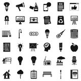 Idea icons set, simple style. Idea icons set. Simple style of 36 idea vector icons for web isolated on white background Royalty Free Stock Image