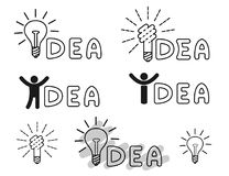Idea icons. Templates for innovative logos. With lamp and human figure. Vector stock illustration