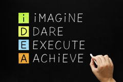 IDEA - Imagine Dare Execute Achieve. Hand writing IDEA - Imagine Dare Execute Achieve with white chalk on blackboard Stock Image