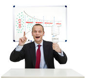 Idea and innovation. A businessman, smartly dressed in a suit, holding a lamp, illustrating the idea and innovation process. On the whiteboard behind him, a Royalty Free Stock Images