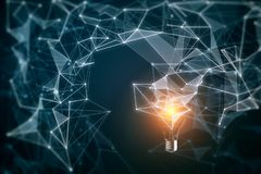 Idea and innovation background. Abstract polygonal lamp on blurry background. Idea and innovation concept. 3D Rendering royalty free illustration