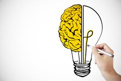 Idea, innovation and brainstorm backdrop. Hand drawing creative lamp and brain sketch on white backdrop. Idea, innovation and brainstorm concept vector illustration