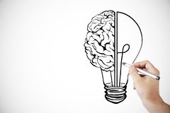 Idea, innovation and brainstorm background. Hand drawing creative lamp and brain sketch on white background. Idea, innovation and brainstorm concept royalty free illustration