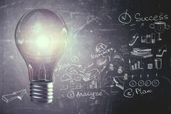 Idea and innovation concept. Creative glowing lamp on dark wall background with business sketch. Idea and innovation concept. 3D Rendering Royalty Free Stock Image