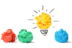 Idea and innovation concept. Concept of idea and innovation with paper ball Stock Photos