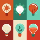 Idea and innovation concepts - flat light bulbs. Vector signs and icons in flat style - idea and innovation concepts - light bulbs Stock Photo
