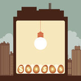 Idea Investment Concept. Vector illustration of the inside of the building; a bright lightbulb nurturing dollar eggs Stock Photography