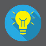 Idea lamp flat icon. Round colorful button, circular vector sign with long shadow effect. Royalty Free Stock Photography