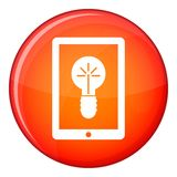 Idea lamp on gadget screen icon, flat style Stock Photos