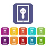 Idea lamp on gadget screen icons set Stock Images