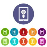 Idea lamp on gadget screen set icons Royalty Free Stock Image